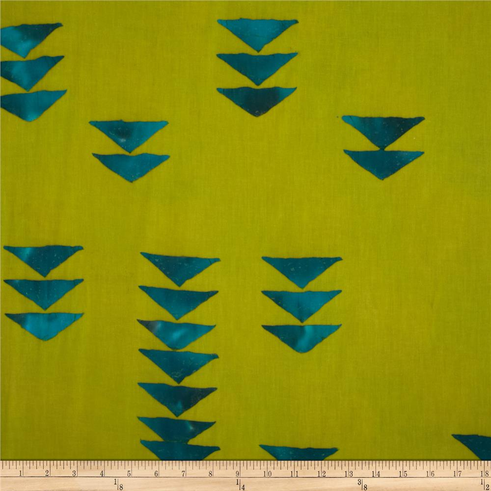 Alison Glass Hand Dye Batiks Flying Geese Dusty Green