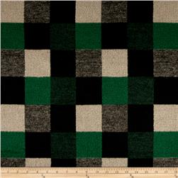 Brushed Wool Blend Check Green/Black/Tan