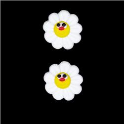Novelty Button 3/4'' PR Daisy White/Yellow