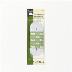 Knit Non-Roll Elastic 1/4''X3yd-White