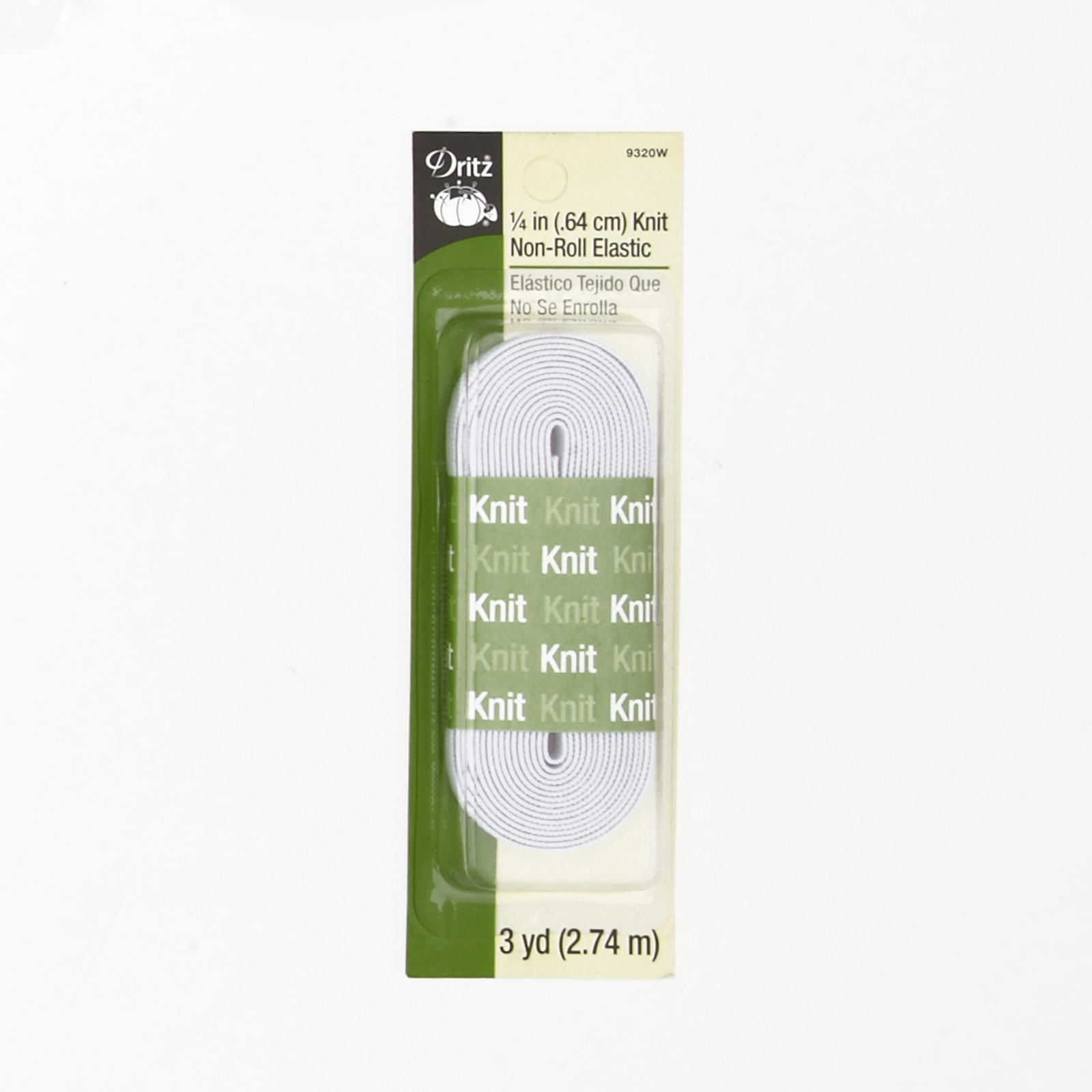 Knit Non-Roll Elastic 1/4''X3yd-White 0371971