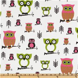 Premier Prints Hooty Owl Candy Pink/Chartreuse