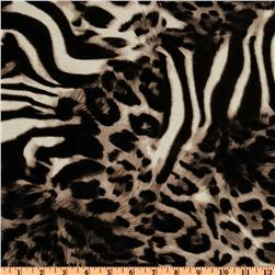 Rayon Jersey Knit Leopard Black/Tan/Cream