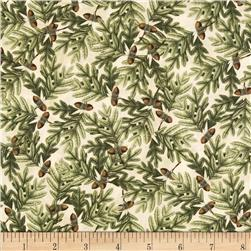 Postcard From the Lodge Tossed Leaves Cream/Green Fabric