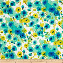 Stretch Designer Knit Floral Aqua/Yellow