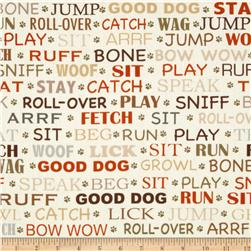 Kanvas Yard Dog Word Cream Fabric