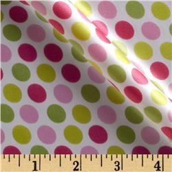 Charmeuse Satin Mod Dot Hot Pink/Jade Fabric