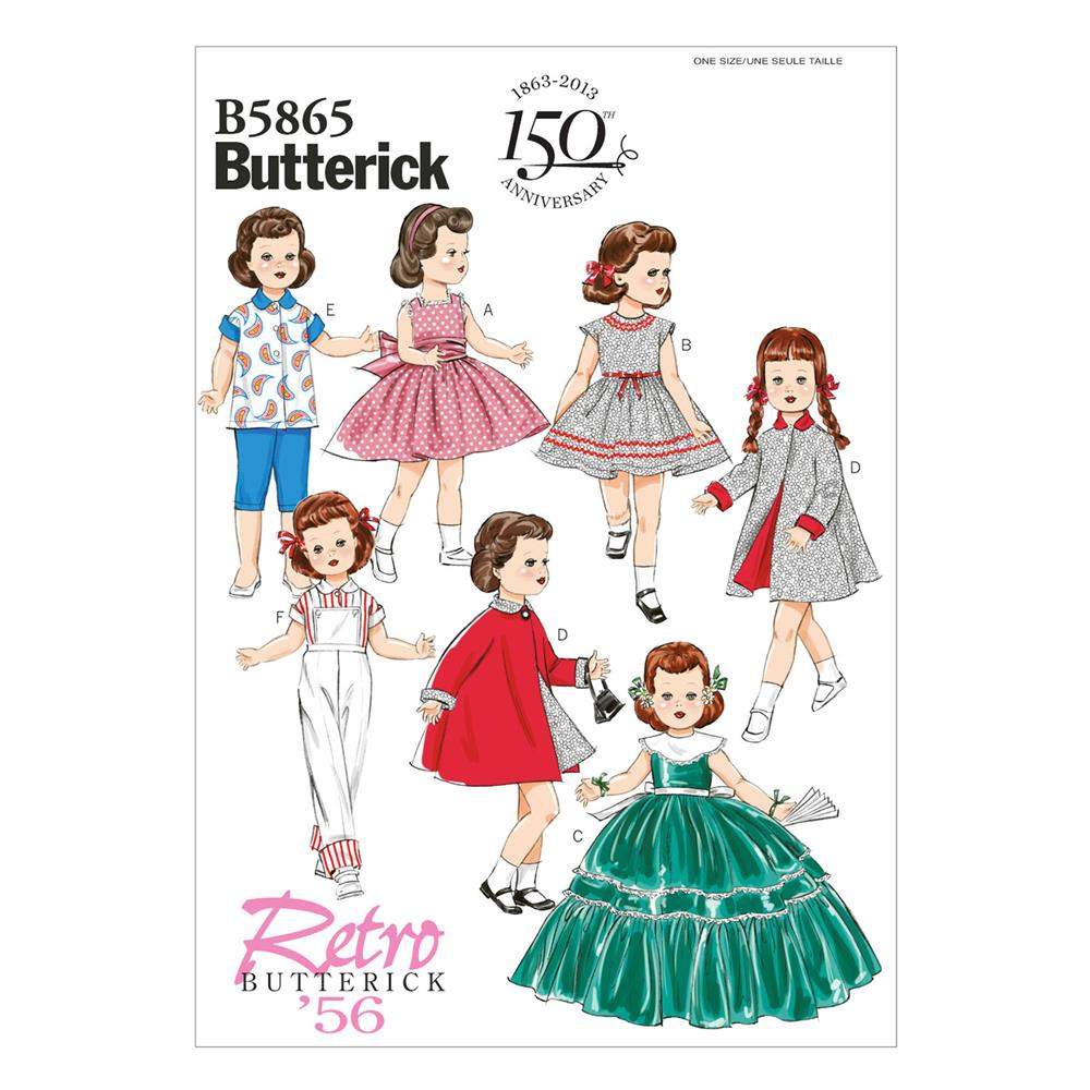 "Butterick Clothes for 18"" Doll Pattern B5865 Size OSZ"