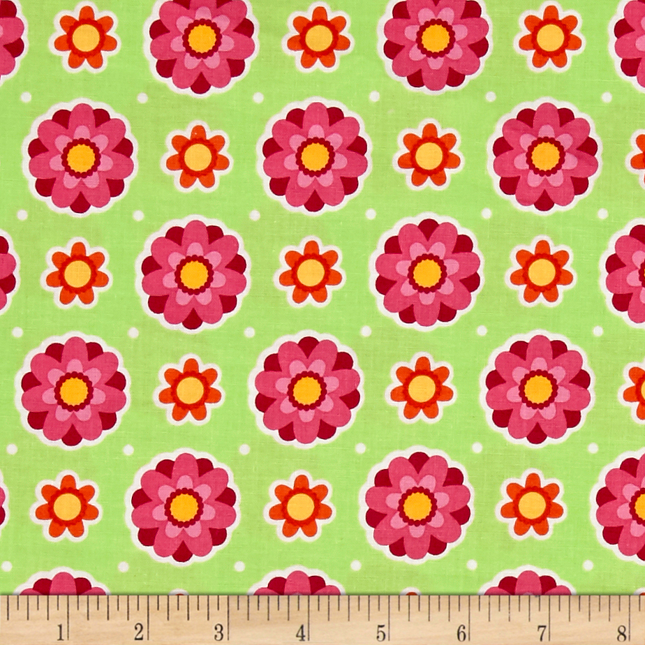 Image of Anna's Garden Flower Dots Leaf Fabric