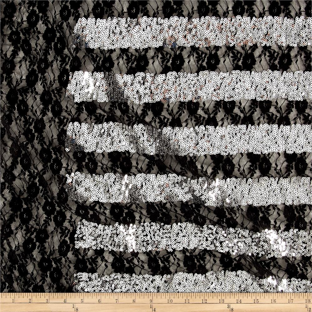 Metallic Stretch Sequin Lace Black/Silver Fabric