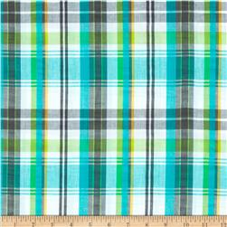 Kaufman Cape Cod Seersucker Plaid Seafoam