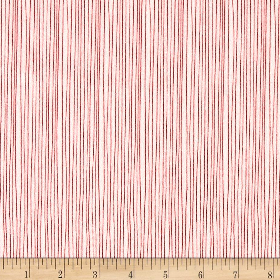 Moda Red Dot Green Dash Brushed Cottons Holiday Stripe Winterwhite/Red Fabric