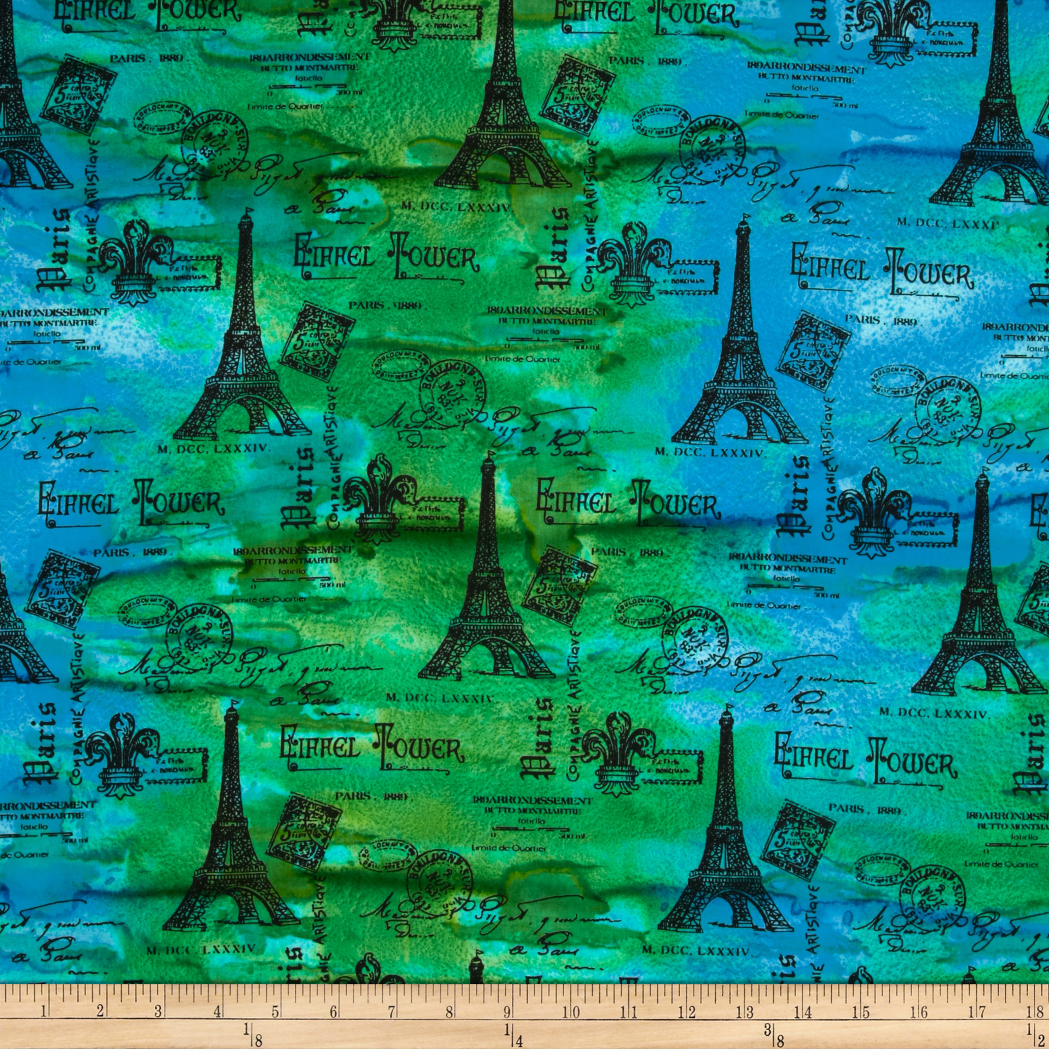 Indian Batik Eiffel Tower Blue/Green