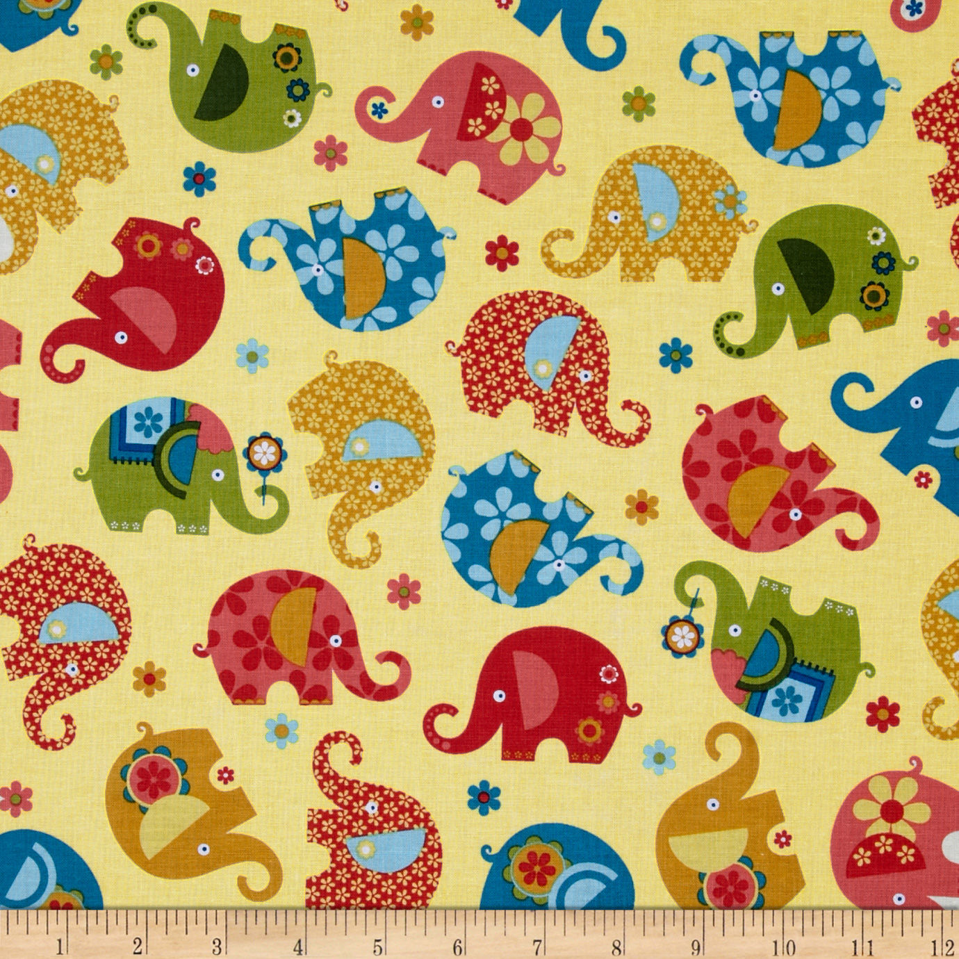 Michael Miller Happy Town Elephant Romp Candlelight Fabric