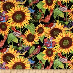 Los Cabos Allover Sunflowers & Birds Black Fabric