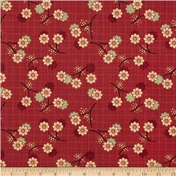 River Mist Metallic Small Floral Red