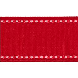 "1 1/2"" Grosgrain Stitched Edge Ribbon Red/White"