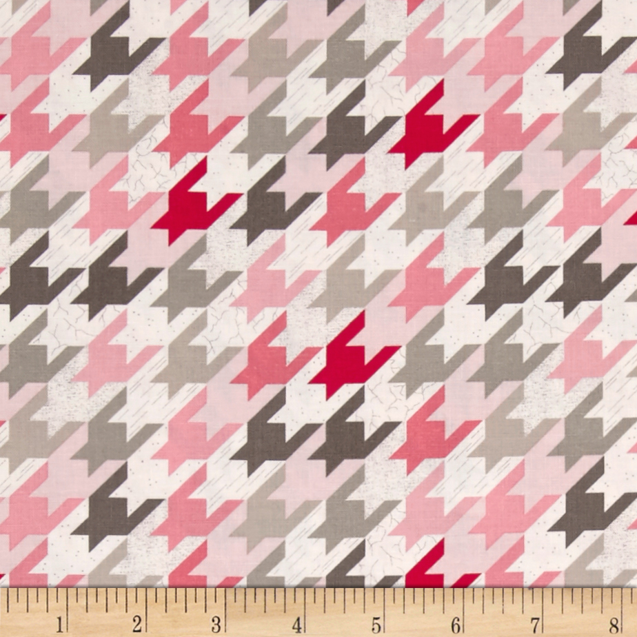 Image of Modern Tyke Houndstooth Pink Fabric