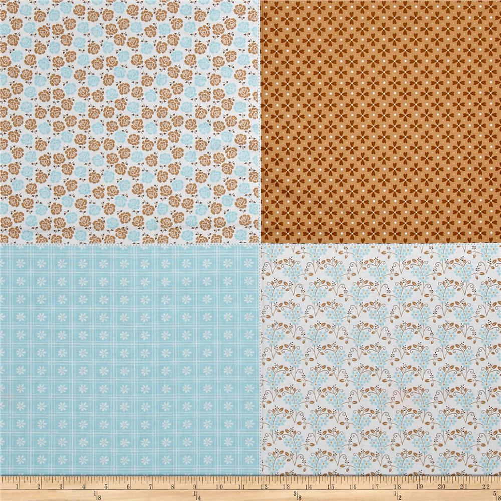 "Riley Blake Sew Cherry 2 Fat Quarter 35.5"" Panel Aqua"