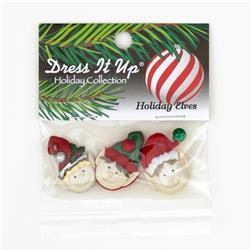 Dress It Up Embellishment Buttons  Holiday Elves