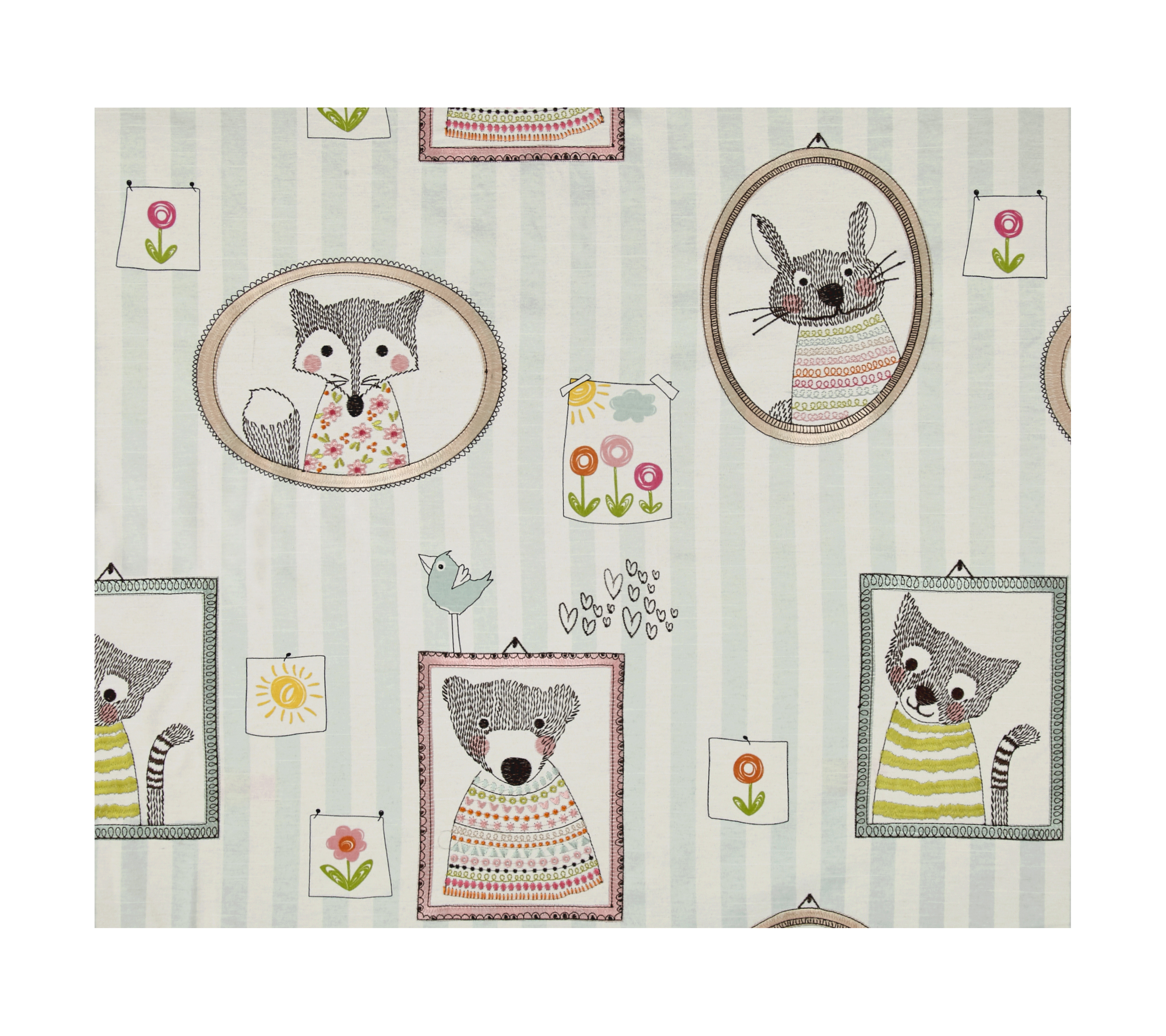 Golding by P Kaufmann Fuzzy Faces Pastel Embroidered Fabric by Golding in USA