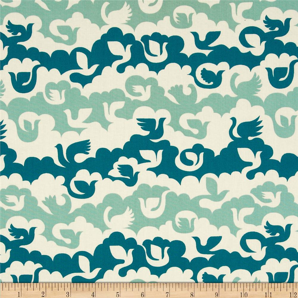 Birch Organic Ipanema Birds and Clouds Blue