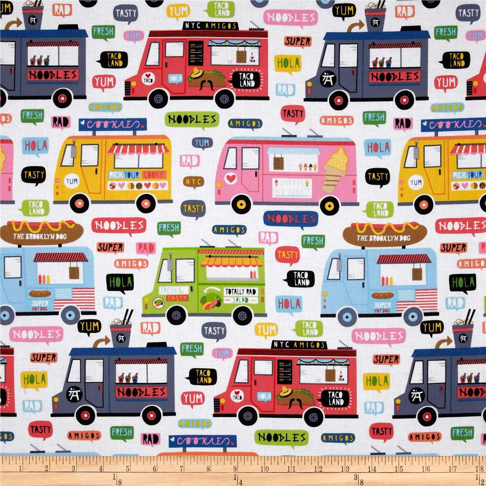 Timeless Treasures Planes, Trains & Automobiles Food Trucks White