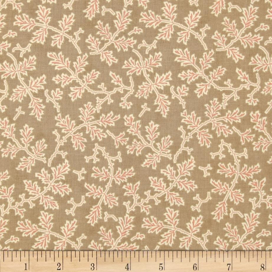 Moda Autumn Lily Scattered Branches Wooden Trellis Tan