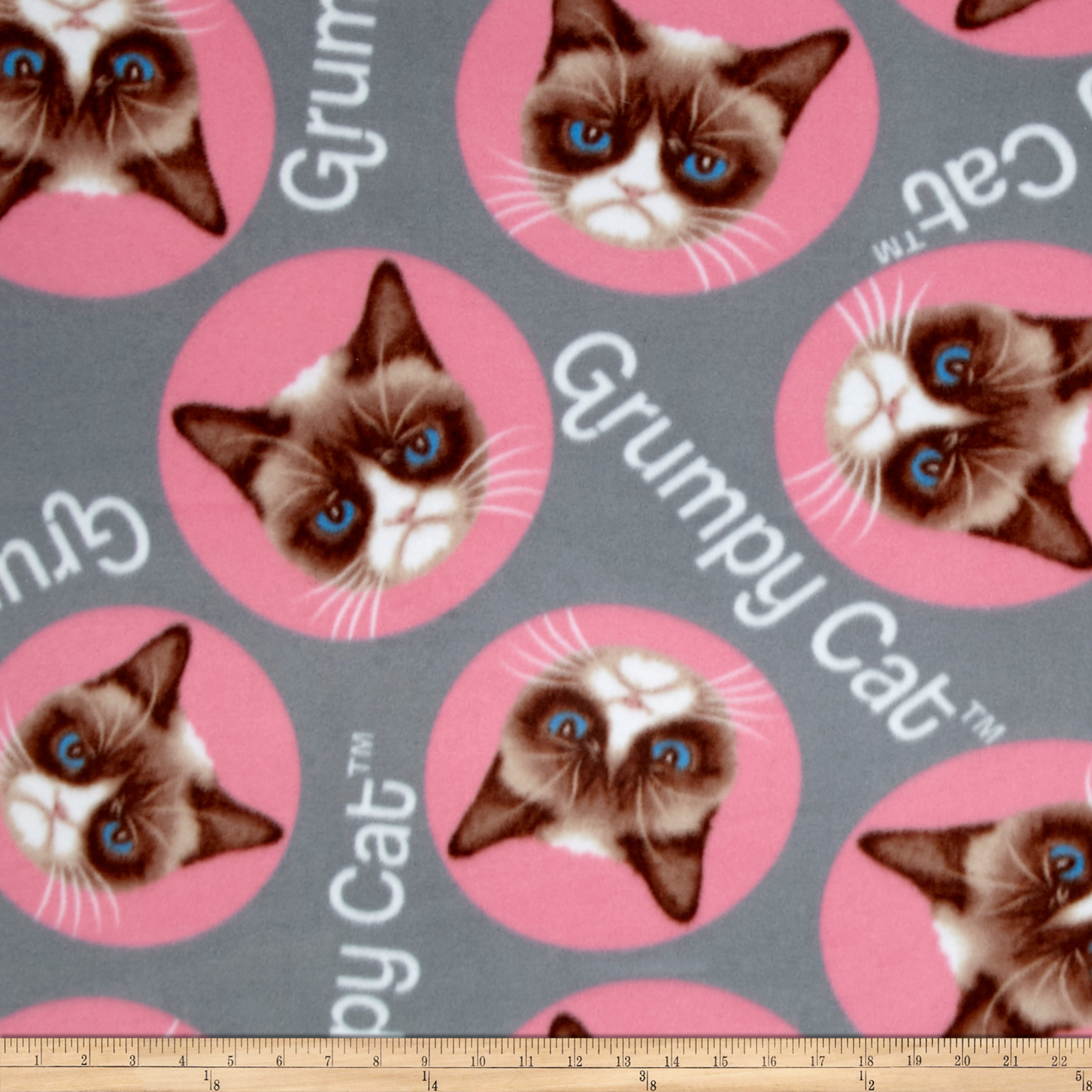Grumpy Cat Fleece Tossed Cat Gray Fabric by Marcus in USA