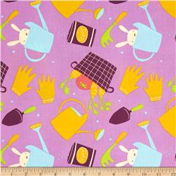 Garden Tools Lilac Fabric