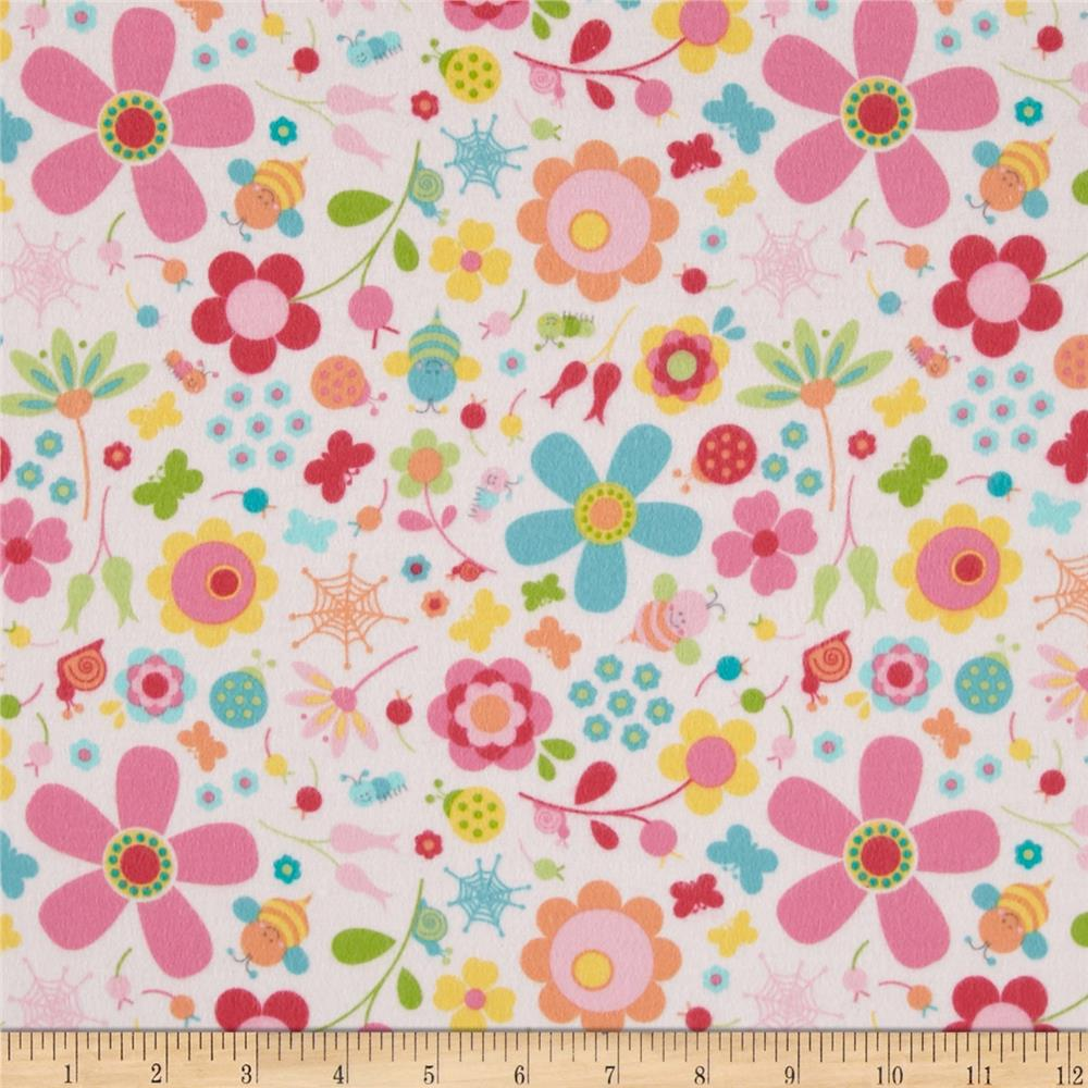 Riley Blake Flannel Snug as a Bug Flowers Pink