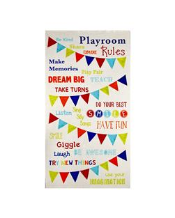 "Timeless Treasures Playroom Rules 23.5"" Panel Ivory"