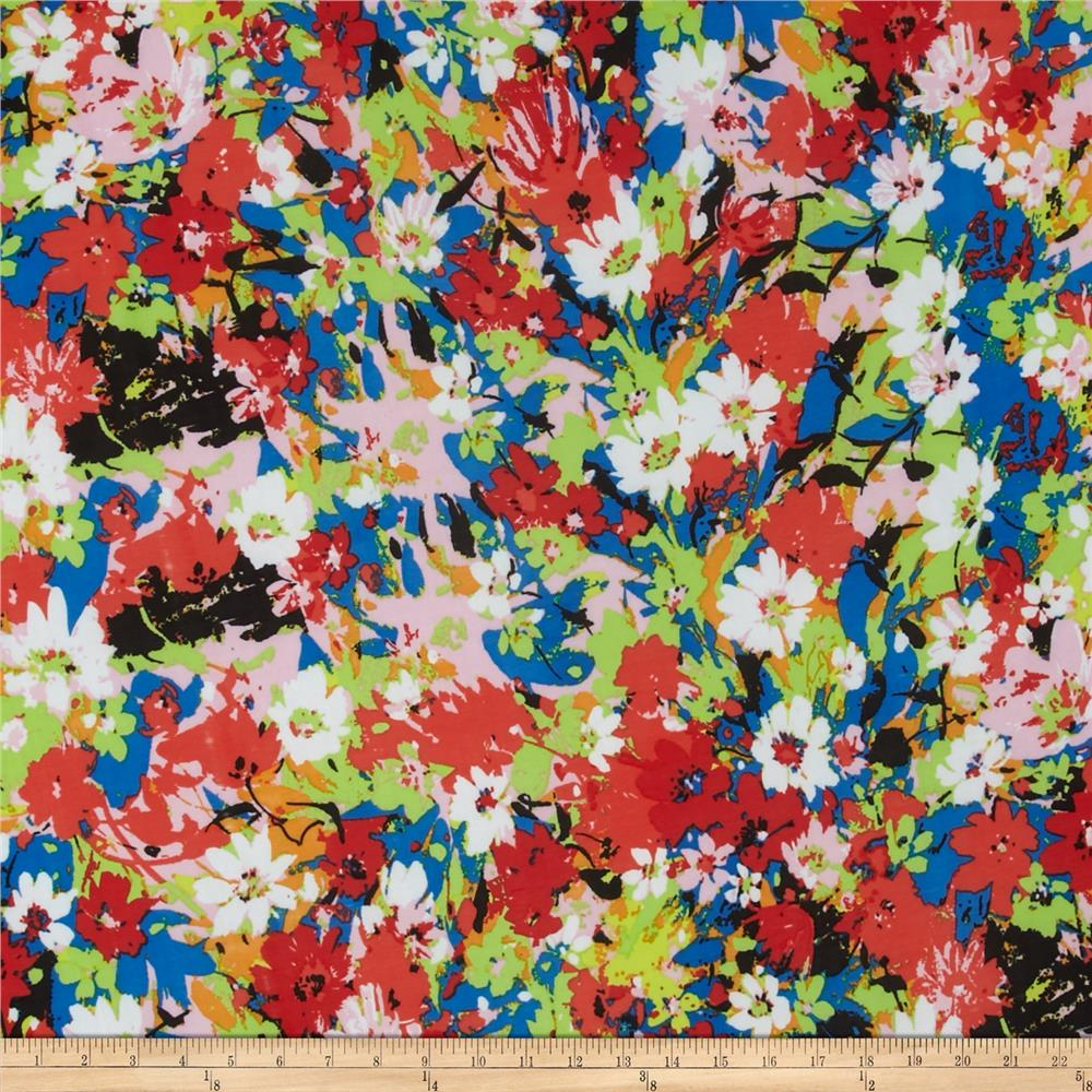 Stretch ITY Jersey Knit Floral Pink/Coral/Blue