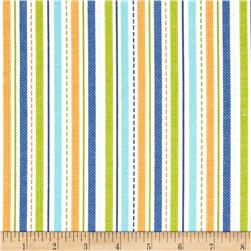 Alpine Flannel Geared Up Stripes Orange Fabric