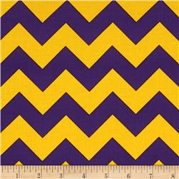 "Riley Blake 58"" Manufactures Cut Chevron Medium Purple/Gold"