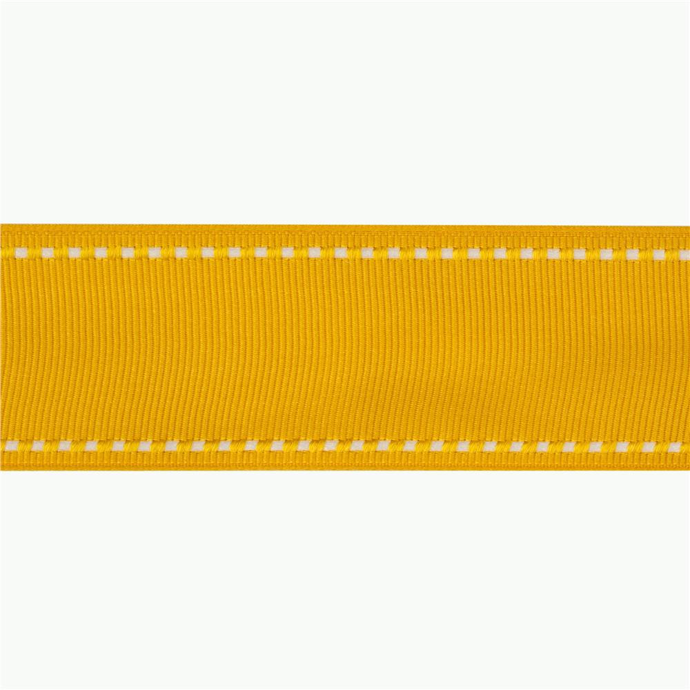1 1/2\'\' Grosgrain Ribbon Saddle Stitch Yellow/White - Discount ...