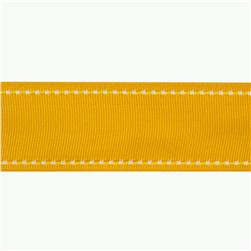 1 1/2'' Grosgrain Ribbon Saddle Stitch Yellow/White