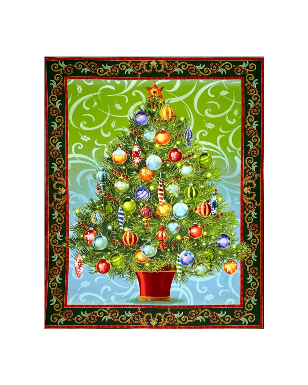 Holiday Treasures Metallic Christmas Tree 36in. Panel Forest