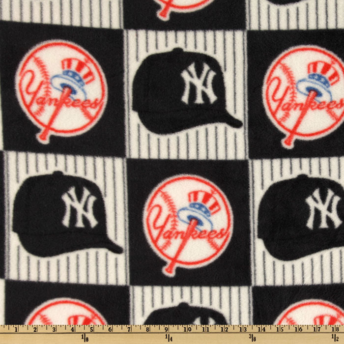 MLB Fleece New York Yankees Blocks Blue/Red/White Fabric