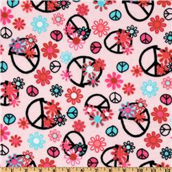 Kaufman Minky Cuddle Peace Flower Pink