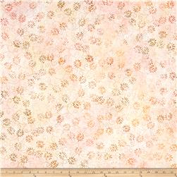 "106"" Wide Batavian Batik Quilt Back Dancing Leaves Pink/Orange"