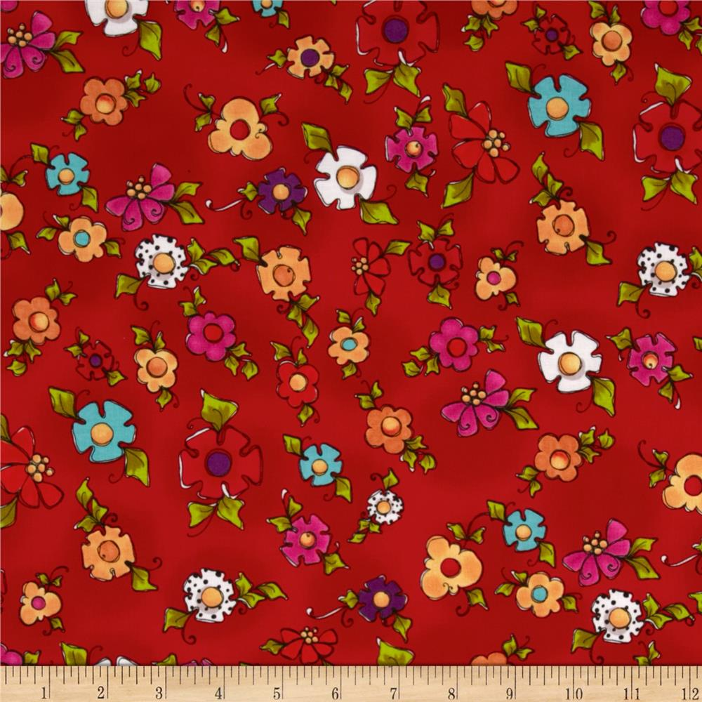 Loralie Designs Happy Dog Happy Blooms Red