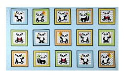 "Henry Glass & Co. Panda-monium Flannel Panda Boxes 25.5"" Panel Aqua"