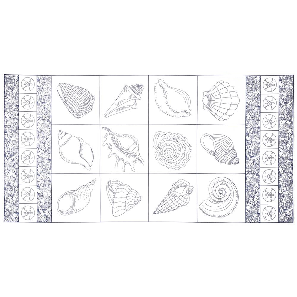 Timeless Treasures Seaside Shell Panel White