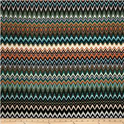 Stretch ITY Jersey Abstract Chevron Teal/Lime