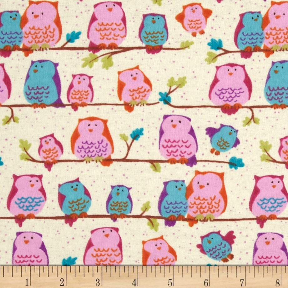 Perched Night Owlies Flannel Perched Owls Vanilla