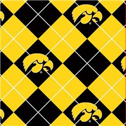 Collegiate Fleece University of Iowa Argyle Yellow/Black Fabric