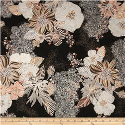 Kaya Metallic Large Ornate Floral Cappucino/Silver Fabric
