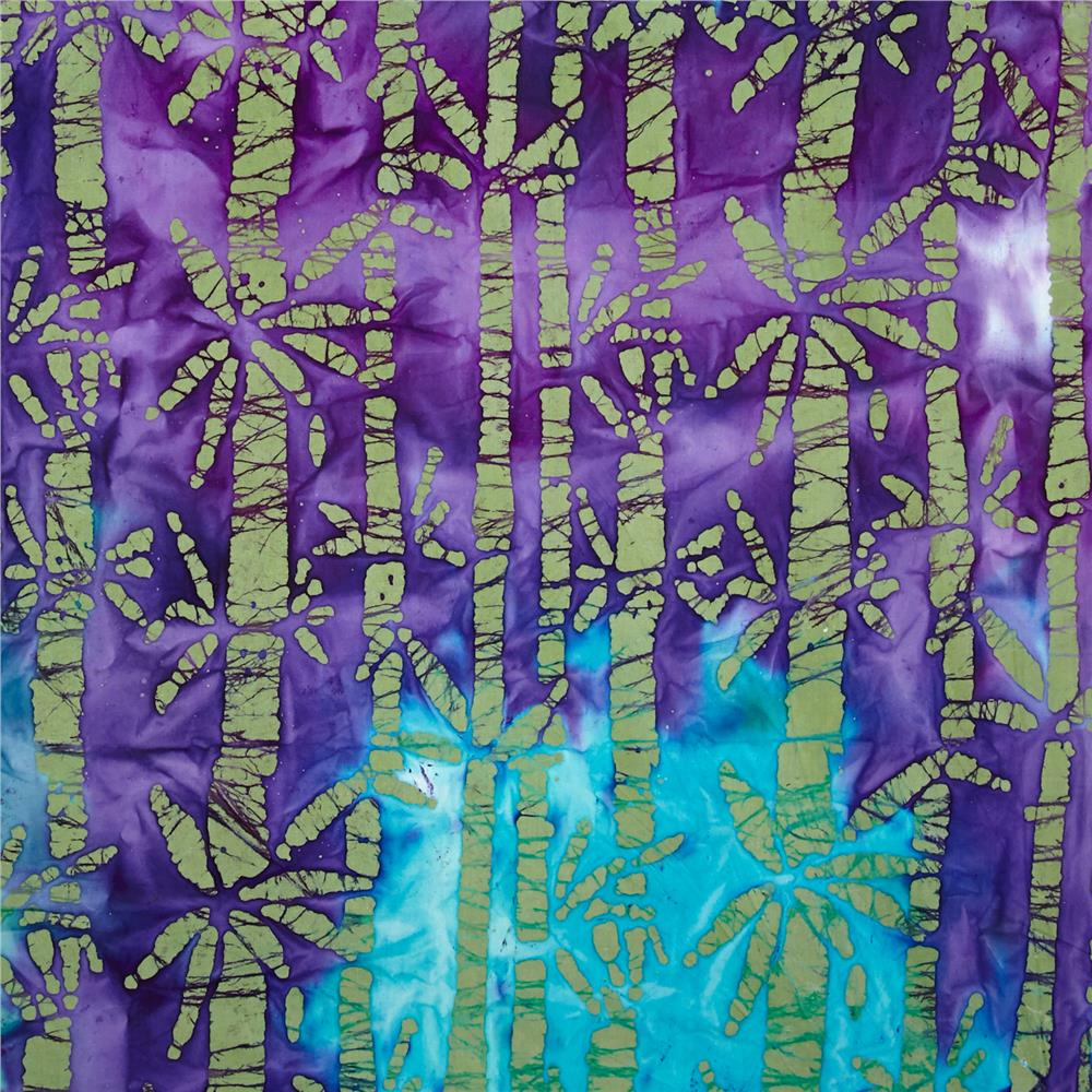 Indian Batik Bamboo Lagoon Olive/Purple