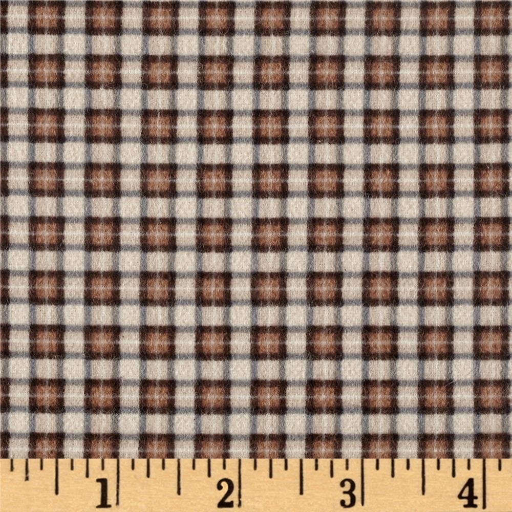 Timeless Treasures Oxford Flannel Mini Plaid Tan Fabric